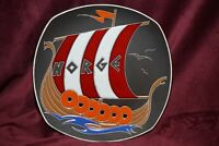 AWF Halden Enameled Plate Vintage Wall Art Decorative Plate Viking Ship Norway