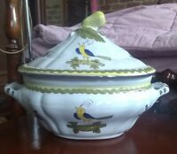 Vintage Hand Painted Italian Porcelain Soup Tureen With Birds Made in Italy