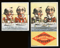 SCARCE DIAMOND BRAND OYSTERS METAMORPHIC TRADE CARD - WITH & WITHOUT - POEMS