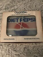 LIMITED EDITION ULTRA RARE Diet Pepsi Clock By Clock-Wise Beveled Glass USA