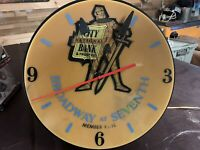 VINTAGE WALL MOUNTED CLOCK LIGHTED SIGN ADVERTISING WORKS SIGNCOR