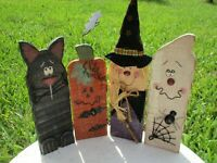 Vintage Halloween Wood Fall Decorative Witch Ghost Pumpkin Cat Sign Folk Art