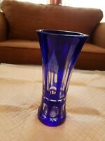BOHEMIAN Vintage Czech Cobalt-Blue Cut-to-Clear Crystal Vase