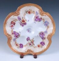 Antique Limoges Oyster Plate Violas Raised Gold & Enameling Coiffe LS&S French
