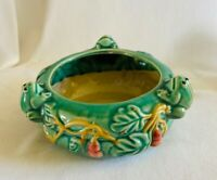 Vintage Majolica Art Pottery 3 Frogs On Lily Pad Bowl Planter 4
