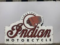 VINTAGE PORCELAIN INDIAN MOTORCYCLE GAS AND OIL SIGN