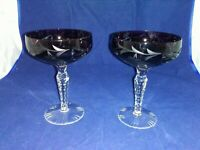 2-BOHEMIAN CRYSTAL CUT TO CLEAR PURPLE WINE GLASSES EXCELLENT CONDITION