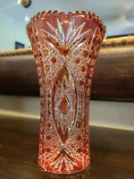 Vintage Cut to Clear Cranberry Red Bohemian Czech Hand Cut Crystal Vase
