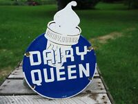 OLD VINTAGE 1957 DAIRY QUEEN ICE CREAM PORCELAIN ENAMEL FAST FOOD SIGN