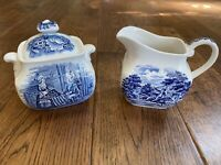 Staffordshire ironstone liberty blue cream and sugar With Lid