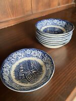 Staffordshire Ironstone Liberty Blue Betsy Ross Set of 8 Dessert Berry Bowls