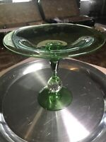Vintage Pairpoint  glass green and clear Control Bubble Compote