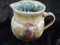 HAND CRAFTED SIGNED UTLITARIAN ART DRIP GLAZE POTTERY PITCHER
