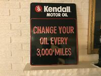 Authentic Contemporary Kendall Motor Oil Embossed Metal Service Station Sign