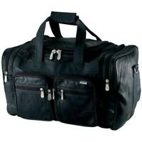 DUFFLE TOTE BAG 19quot; Black Leather Gym Travel Carry On Luggage Shoulder Weekend