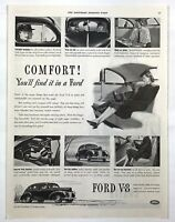 1940 Advertising Ford V8 Modern Car Comfort Pictures People Quiet Ride Print Ad