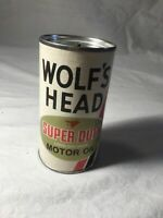 Vintage tin oil can bank miniature 3 7 8 inches tall Wolf#x27;s Head Motor Oil Mint