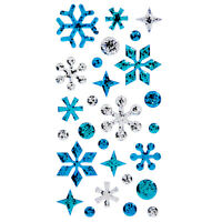 Blue amp; Silver Glitter Snowflakes 3D Stickers Embellishments DIY Crafts Winter