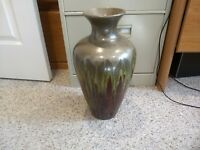 Pier One Beautiful Large Pottery Vase Earth Tones Red Highlights
