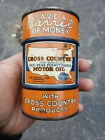 Vintage Advertising Cross Country Motor Oil Can Bank 616 F