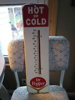 Vintage 1940s Dr. Pepper Hot or Cold 26quot; x 7quot; Thermometer