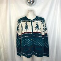 Vintage Classic Elements Alpine Tree Ugly Christmas Cardigan Sweater Size M L