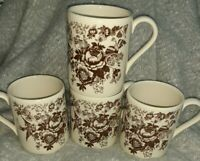 Vintage Brown Transferware Coffee Mugs SET OF 4 quot;Made in England quot;