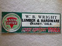 OLD TIN SIGN WRIGHT HARDWARE GRANBY COLORADO KEEN KUTTER TOOLS