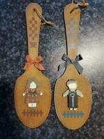 2 Vintage Men Women Restroom Bathroom Toilet Wooden Paddle Door Hanging Signs
