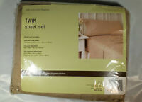 Vintage Bedding Sheet Set Twin Sz Vallejo Tan New In Package Made in USA 66x96