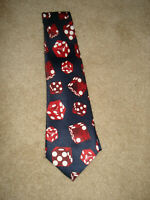 Vintage Brothers DICE Neck Tie Navy with Red amp; White Dice Pattern EUC