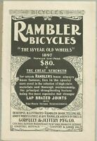 1897 Rambler Bicycles Ad quot;The 18 Year Old Wheelsquot; for Book about Wheels