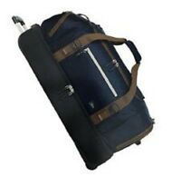NEW The Skyway Luggage Globe Trekker 2 Compartment Rolling Duffel Bag Navy Blue