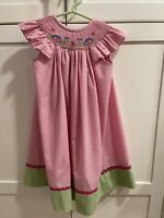 Zuccini Girls Smocked Pink with Snails and Flowers Size 2T