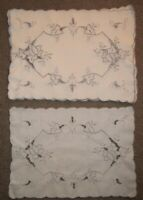 Vintage Set Of 5 Floral MADEIRA Embroidery amp; Cutwork Placemats 11quot; X 15 1 2quot;
