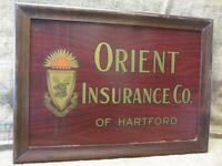 Vintage Framed Orient Insurance Co Sign > Antique Hartford Wood Frame 9525