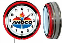 Amoco Oil Gas 19quot; Double Neon Clock Red Neon Man Cave Garage Gas Station