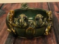 Vintage Planter Lucky Frogs and Bamboo Majolica Style Art Stoneware Pottery Bowl