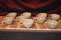 9 Vintage Mexican Tonala Burnished Tourist Pottery Deer Design, Cups or Mugs