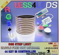 110V LED Strip Light 32.8ft, 10M RGB+W WIFI Ready Flexible Outdoor Holiday 5050