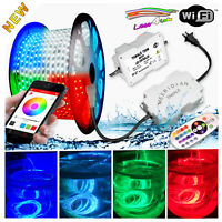 110V LED Strip Light 49.2ft, 15M RGB+W WIFI Ready Flexible Outdoor Holiday 5050