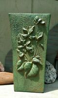 VINTAGE ARTS CRAFTS POTTERY VASE MOTTLED GREEN, LADY BUG BUMBLE BEE FLOWERS