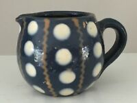 Vintage French Pottery Small Creamer Blue White Polka Dots France