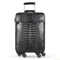 Black Genuine Crocodile Leather Luggage Bag Business Trolley Travel Bag 20inh