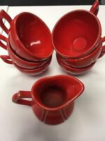 HENRIOT QUIMPER SIGNED Rare Red Set of 6 Tea Cups and Creamer Pitcher