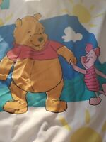 WINNIE THE POOH PIGLET TWIN FLAT SHEET TOP VINTAGE BEDDING *NICE AND BRIGHT EUC