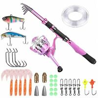 Fishing Rod Fishing Pole Girls Women Pink Pack Line Lures Tackle Boat Cabin pkg