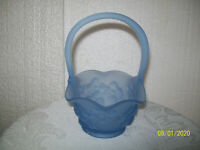 Blue Frosted Glass Basket