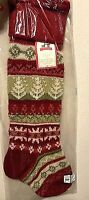 NWT Pottery Barn Kids classic fair isle knit RED trees Christmas stocking NEW