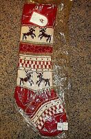 NWT Pottery Barn Kids classic fair isle knit reindeer red Christmas stocking